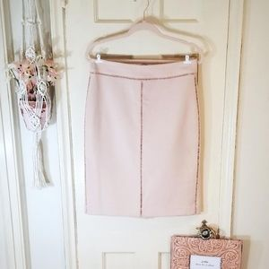 Ann Taylor Pink Pencil Skirt w/ Embroidery Detail